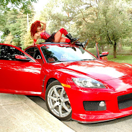 Leesha Luv and her rockin' red RX8 by Mick Tobyn - Transportation Automobiles ( car, long legs, sportscar, model, automobile, beauty, cute, pretty, babe, glamour, sexy, girl, gorgeous, stylish, woman, mazda, beautiful, leggy, mazda rx8, sensual, glamourous, hottie, red, rx8, outdoors, hot, legs, hotty,  )