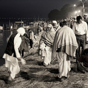 PILGRIMS by Soumish De - People Street & Candids ( night photography, dual tone photography, india, travel, pilgrim, people, street photography )