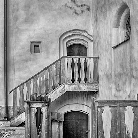 Doorway by Tony Mortyr - Black & White Buildings & Architecture ( door, castle, stairs, historical )
