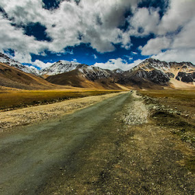 Sarchu To Keylong by Dhritiman Lahiri - Landscapes Mountains & Hills ( clouds, mountain, dhritiman lahiri, himalaya, highway, blue skies, cloudscape, keylong, ladakh, blue sky, sarchu, kashmir, india, manali, landscapes )
