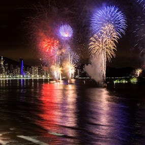by Rqserra Henrique - Public Holidays New Year's Eve ( newyear, firework, beach, night, reflecting, fireworks,  )