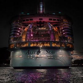 Allure of the Seas by Nick Goetz - Transportation Boats ( cruiseship, night photo, night shot, allure of the seas )
