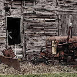 Tired Tractor by Robert Coffey - Digital Art Things ( wood, wheel, barn, agriculture, tractor )