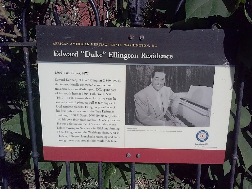 This plaque is a part of the African American Heritage Trail in Washington DC. Edward