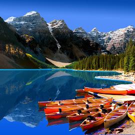 LAKE MORAINE BANFF CANOES by Gerry Slabaugh - Transportation Boats ( canadian rockies, lake, lake moraine banff canoes, canoes, moraine )