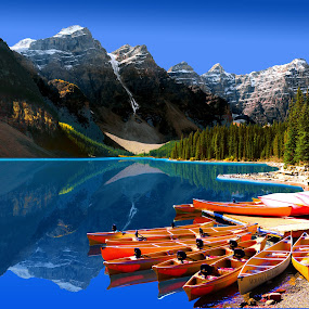 LAKE MORAINE BANFF CANOES by Gerry Slabaugh - Transportation Boats ( canadian rockies, lake, lake moraine banff canoes, canoes, moraine,  )