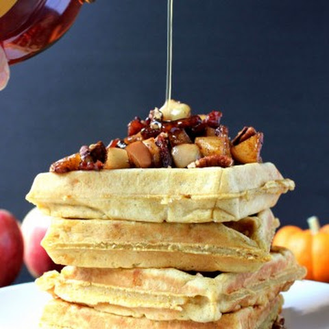 Pumpkin Cheddar Waffles w/ Bacon-Apple Chutney & Candied Pecans