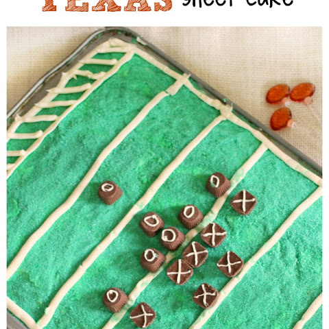 Candy Bar Stuffed Texas Sheet Cake - Football Edition!