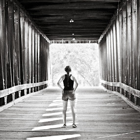 by Angela Taylor - Black & White Landscapes ( black and white, covered bridge, smug, reflections,  )