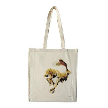 Hare rabbit bag tote cotton shopper