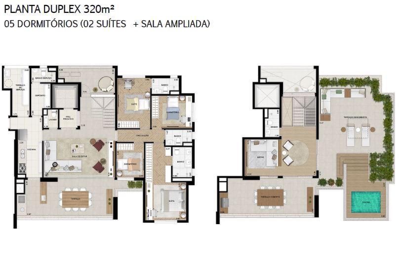 Planta 320 m² Duplex Opção + Sala Ampliada
