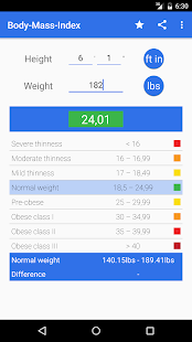 BMI Calculator - for men - screenshot