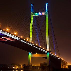 Kolkata nights! by Rajarshi Mitra - Buildings & Architecture Bridges & Suspended Structures ( second hoogley bridge, kolkata, vidya sagar setu, bridge, long exposure )