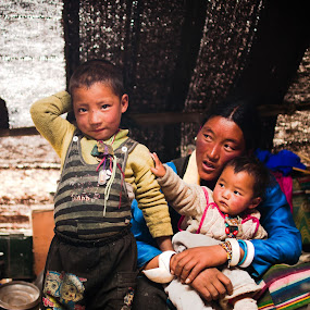 Nomad Family by Garrett Dyer - People Family ( child, mother, family, tibetan, tent, baby, tibet, nomad )