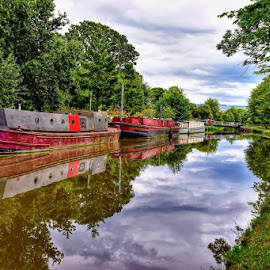 down the canal by Betty Taylor - Landscapes Waterscapes ( landscapes, canals, waterscape, boats, boats boating )