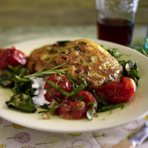 Potato Cakes with Swiss Chard and Tomato Sauce