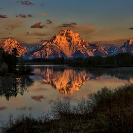 Oxbow Bend at Sunrise by James Gramm - Landscapes Sunsets & Sunrises ( sky, mountains, reflections, light, tetons, water,  )