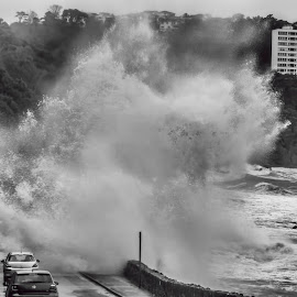 Anyone for a Car Wash? by Andy Toby - Landscapes Weather ( black and white, waves, meadfoot, sea, toquay, storm, mono,  )