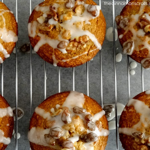 Wholemeal Banana Nut Muffins with Rum Raisin Glaze