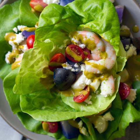 Peruvian Shrimp Salad with Cilantro and Roasted Pepper Dressing