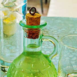 A carafe of wine by Anita Nielsen - Artistic Objects Glass ( wine, carafe, cork, samos, glass )