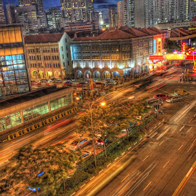 Busy Chinatown street by Sim  Chee teck - Digital Art Places ( hdr photo of chinatown street. ray of light of car . dragon )