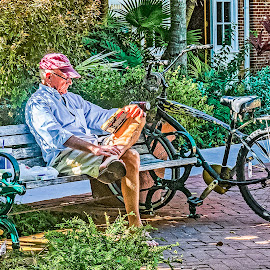 Time Out by Sandy Friedkin - People Street & Candids ( reading, bike, sitting, bench, lunch, man )
