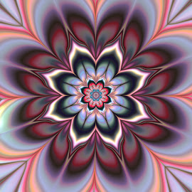 Flower 2 by Cassy 67 - Illustration Abstract & Patterns ( pastel, fractal art, flowers, fractal, digital, fractals, blossom, flower )