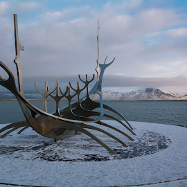 Reykjavik long boat scupture by Peter Bartlett - Artistic Objects Other Objects