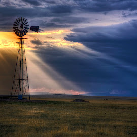 Prairie Windmill by Kent Moody - Landscapes Prairies, Meadows & Fields ( cloudy day, sunstreaks, plains, prairie, windmill, new mexico )