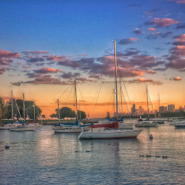 Sunset at Lake Michigan by Gene Brumer - Instagram & Mobile Android ( water, sky, lake michigan, sunset, boats, lake )