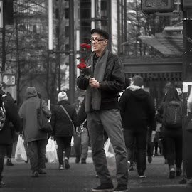 Roses for a Special Occasion by Garry Dosa - People Street & Candids ( urban, person, red, winter, february, outdoors, black & white, roses, people, man, city )