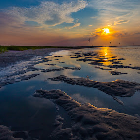Rock Harbor Refelctions by Ed & Cindy Esposito - Landscapes Sunsets & Sunrises ( clouds, ebb tide, rock harbor, sand, sky, grass, sunset, reflections, cape cod )