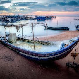 Fishermen Wharf by Ah Wei (Lung Wei) - Landscapes Sunsets & Sunrises ( shore, sunrises, george town, penang island, landscape, samyang 12mm f2.8, george town penang, ah wei (lung wei), batu maung, penang second bridge, long exposure, nikon, clouds, samyang, fisheye, seashore, second penang bridge, malaysia, seascape, samyang 12mm f/2.8 ed as ncs fisheye, nikon d750, pulau pinang, penang, sam poh temple, fishermen wharf, sunrise )