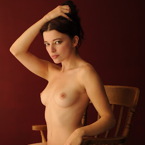 Holding Hair in the Chair by DJ Cockburn - Nudes & Boudoir Artistic Nude ( studio, chair, brown eyes, art nude, sitting, woman, helen diaz, curves, , best female portraiture )