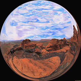 Living In A Circle by Dewey Farmer - Digital Art Places ( clouds, sand, vertorama, desert, sky, red, nature, blue, landscape, rocks, panoramic, panorama )