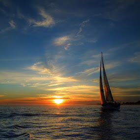 Sunset Sail by Richard Beckmann - Landscapes Waterscapes ( bay, sunset, sea, ocean, sail, sailboat )