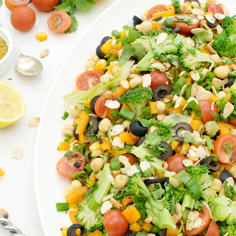 Zesty Chickpea & Broccoli Salad With Curried Vinaigrette [vegan] [gluten free]