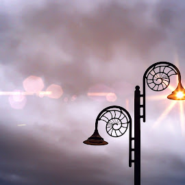 Light on in Lyme Regis by Karyn Easton - Uncategorized All Uncategorized ( lamps, clouds, sky, lighting, lamplight, street lights )