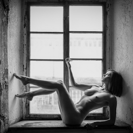 nude at the window by Reto Heiz - Nudes & Boudoir Artistic Nude ( available light, sexy, nude, window, black and white, nudeart, female model )