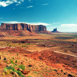 MONUMENT VALLEY MESAS by Gerry Slabaugh - Landscapes Deserts ( navajo, monument valley, desert, mesa, utah, red rock )