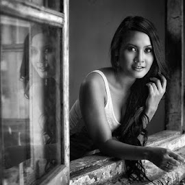 The Girl Next Window in BW by Chandra Irahadi - Black & White Portraits & People