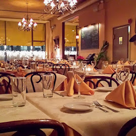 The restaurant by Tomek Karasek - Instagram & Mobile Android ( tables, interior, table cloth, chairs, restaurant )