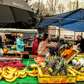 At The Market  by Ian Popple - Food & Drink Fruits & Vegetables ( colourful, market, bananas, oranges, people )