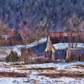 Morning in the Ozarks by Allen Crenshaw - Painting All Painting ( ranch, snow, art, landscape, painting, arkansas )