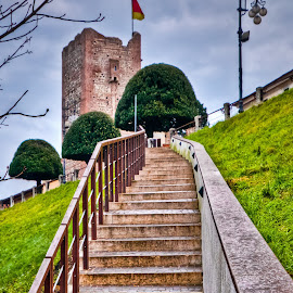 Step by step by Eduard Andrica - Buildings & Architecture Other Exteriors ( old, europe, park, green, tourism, architecture, travel, historic, city, tower, flag, sky, stairs, trees, bassano, town, buiding, italy )