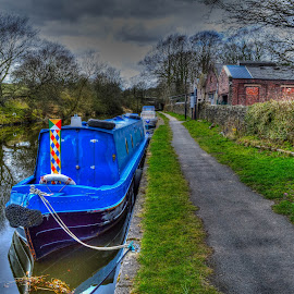 Barge by Paul Ruane - Transportation Boats ( barge, transport, transportation, boat, moorings, canal, waterway )