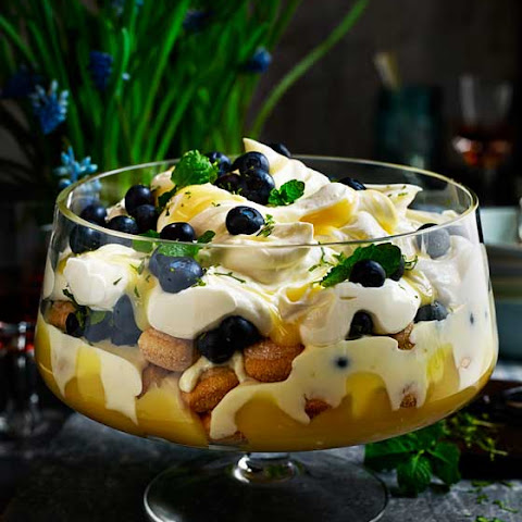 Blueberry, Lemon And Mint Trifle