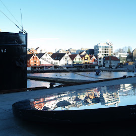 stavanger by Ester Ayerdi - City,  Street & Park  Vistas ( mirror, reflection, houses, harbour, reflections, stavanger, view, boat, landscape, city, norway,  )
