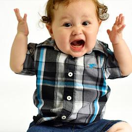 What?! by Kallie Snyder - Babies & Children Child Portraits ( studio, 9 months, funny, baby, christopher, portrait,  )